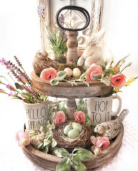 Beautiful spring tier tray decor