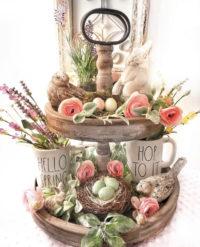 Beautiful spring tier tray decor