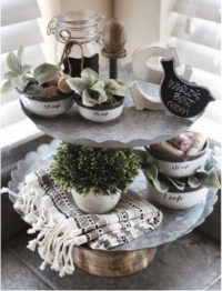 Farmhouse tiered trays for spring
