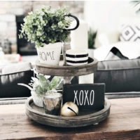 Tiered trays with plants