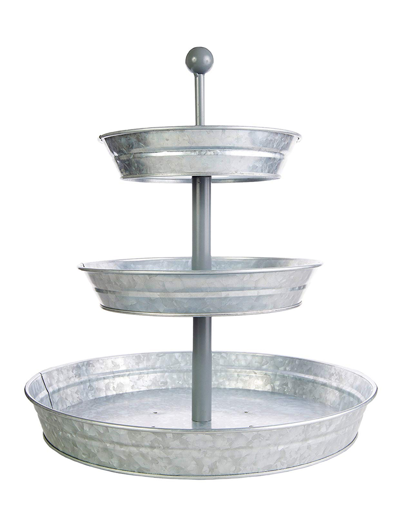 Galvanized 3 tiered tray