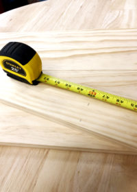Measuring board for DIY Shiplap tutorial for product photography