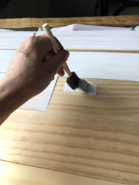 Painting Cutting boards for DIY shiplap background tutorial for product photography