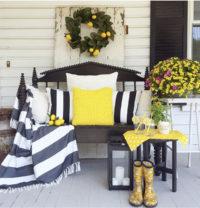 Lemon decor on front porch