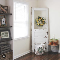farmhouse door with lemon wreath