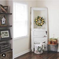 farmhouse door with lemon wreath