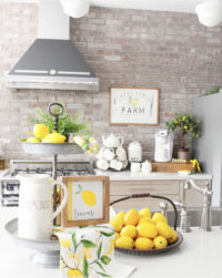 lemon decor in farmhouse kitchen
