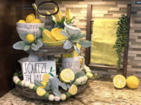 Lemon decor on tiered trays