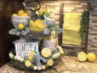 Lemon decor on tiered trays