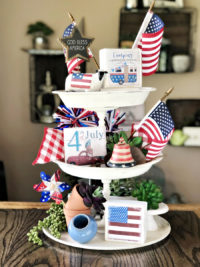 patriotic tiered tray decor